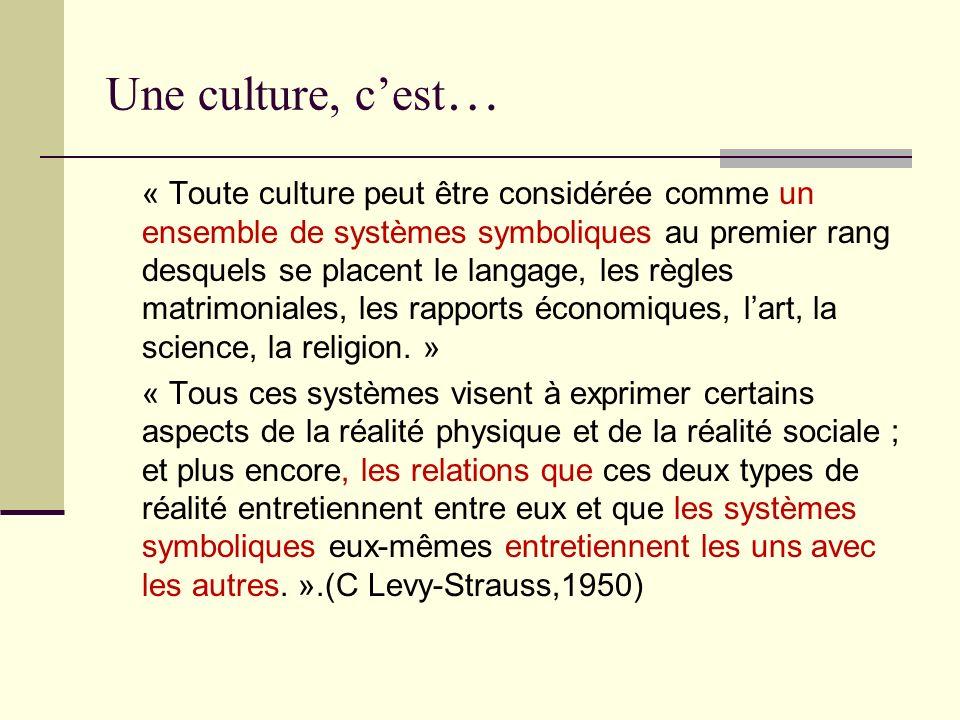 Une culture, cest … « Toute culture peut être considérée comme un ensemble de systèmes symboliques au premier rang desquels se placent le langage, les
