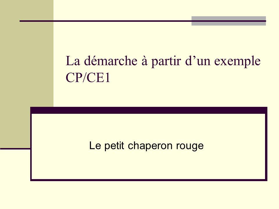 La démarche à partir dun exemple CP/CE1 Le petit chaperon rouge
