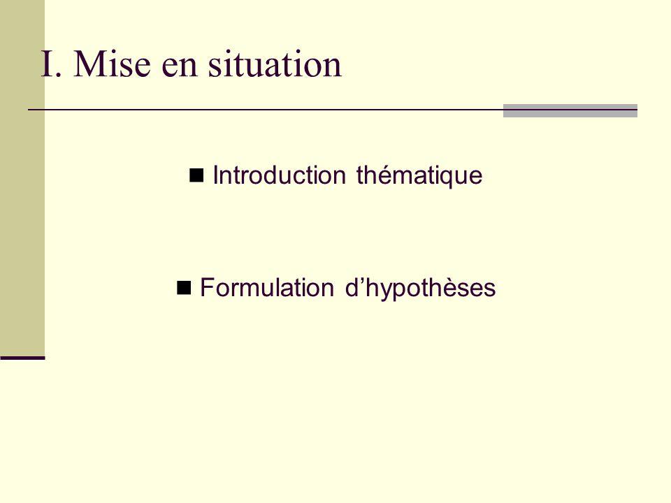 I. Mise en situation Introduction thématique Formulation dhypothèses