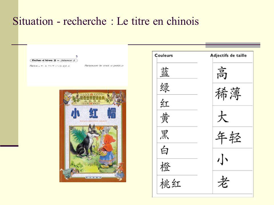 Situation - recherche : Le titre en chinois Identifier,,repérer, sélectionn