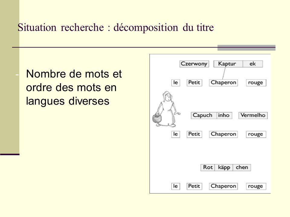 Situation recherche : décomposition du titre - Nombre de mots et ordre des mots en langues diverses