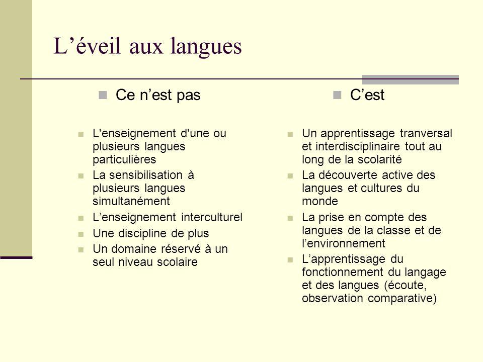 Léveil aux langues Ce nest pas L'enseignement d'une ou plusieurs langues particulières La sensibilisation à plusieurs langues simultanément Lenseignem
