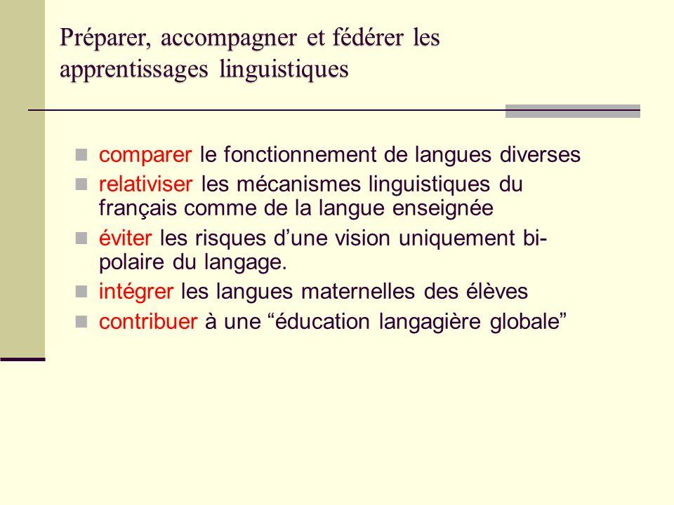 comparer le fonctionnement de langues diverses relativiser les mécanismes linguistiques du français comme de la langue enseignée éviter les risques du