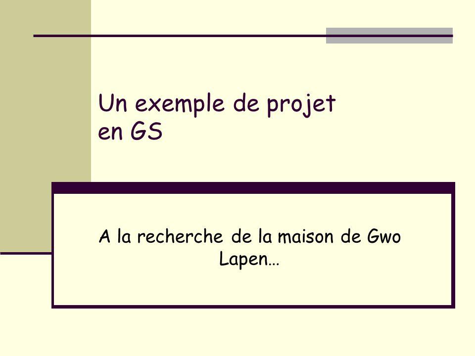 Un exemple de projet en GS A la recherche de la maison de Gwo Lapen…
