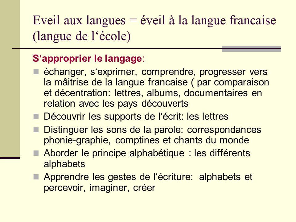 Eveil aux langues = éveil à la langue francaise (langue de lécole) Sapproprier le langage: échanger, sexprimer, comprendre, progresser vers la mâitris