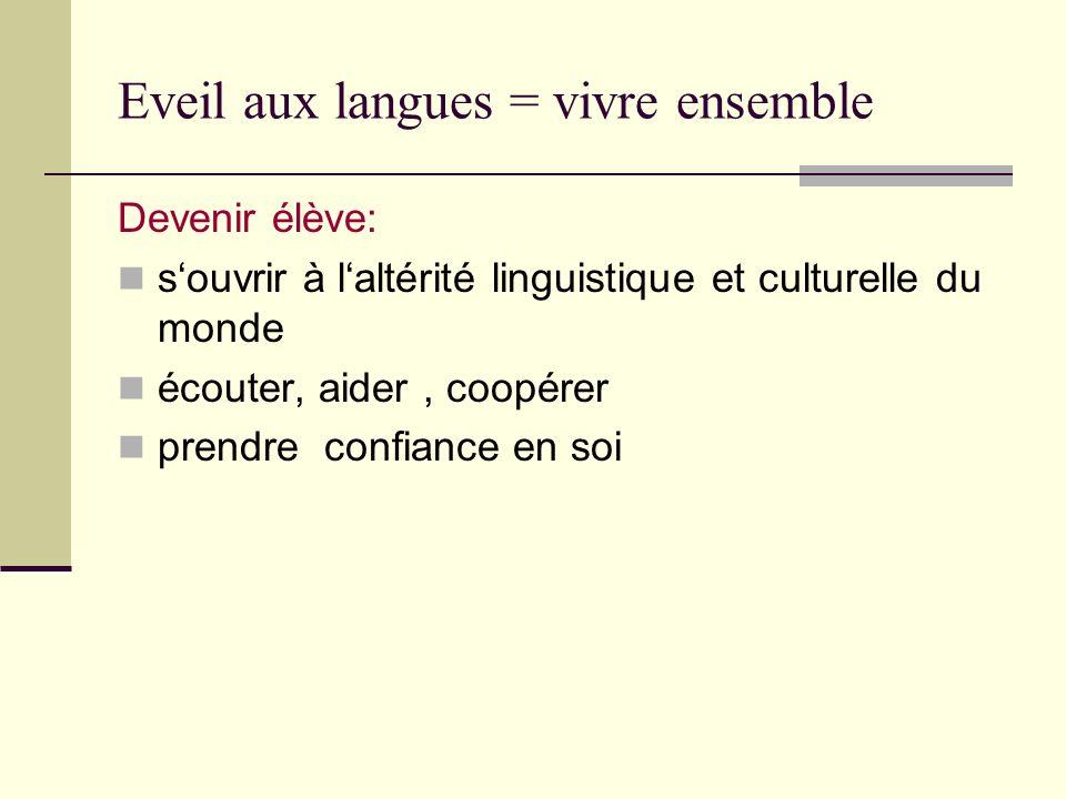 Eveil aux langues = vivre ensemble Devenir élève: souvrir à laltérité linguistique et culturelle du monde écouter, aider, coopérer prendre confiance e