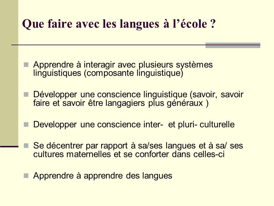 Que faire avec les langues à lécole ? Apprendre à interagir avec plusieurs systèmes linguistiques (composante linguistique) Développer une conscience