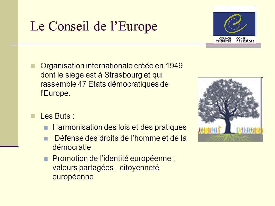 Le Conseil de lEurope Organisation internationale créée en 1949 dont le siège est à Strasbourg et qui rassemble 47 Etats démocratiques de l'Europe. Le