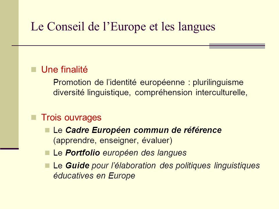 Le Conseil de lEurope et les langues Une finalité Promotion de lidentité européenne : plurilinguisme diversité linguistique, compréhension intercultur