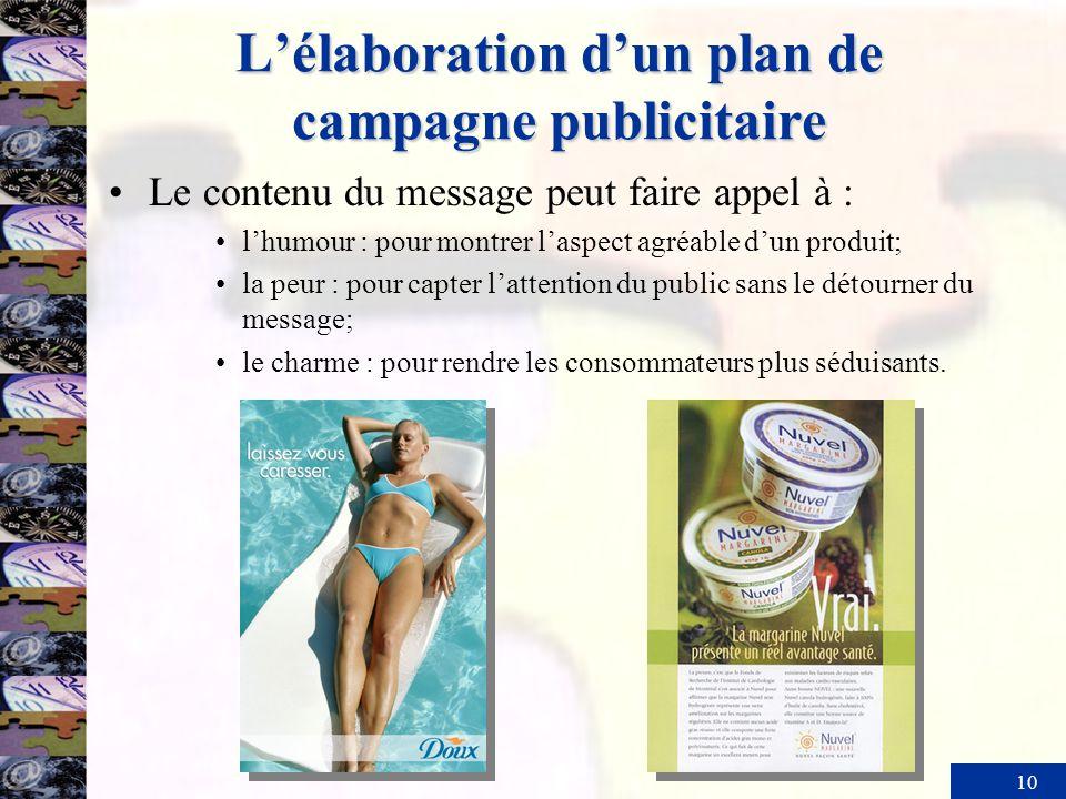 10 Lélaboration dun plan de campagne publicitaire Le contenu du message peut faire appel à : lhumour : pour montrer laspect agréable dun produit; la p