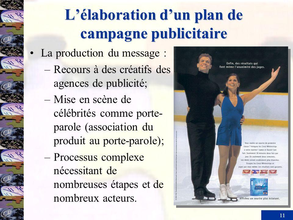 11 Lélaboration dun plan de campagne publicitaire La production du message : –Recours à des créatifs des agences de publicité; –Mise en scène de céléb