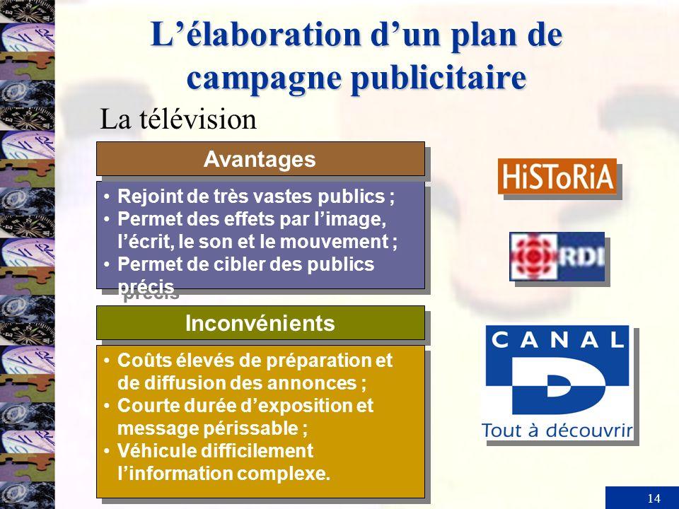 14 Lélaboration dun plan de campagne publicitaire Inconvénients Rejoint de très vastes publics ; Permet des effets par limage, lécrit, le son et le mo