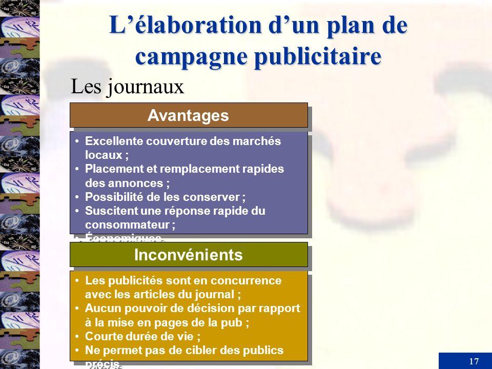 17 Lélaboration dun plan de campagne publicitaire Excellente couverture des marchés locaux ; Placement et remplacement rapides des annonces ; Possibil