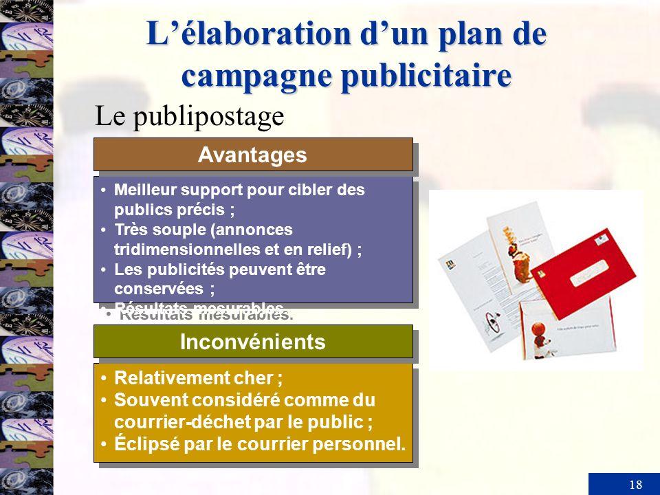 18 Lélaboration dun plan de campagne publicitaire Meilleur support pour cibler des publics précis ; Très souple (annonces tridimensionnelles et en rel