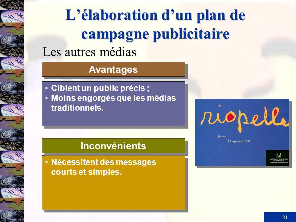 21 Lélaboration dun plan de campagne publicitaire Ciblent un public précis ; Moins engorgés que les médias traditionnels. Ciblent un public précis ; M