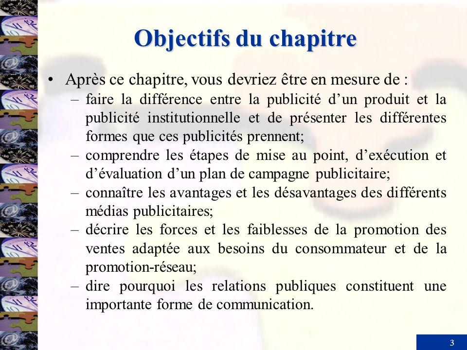 3 Objectifs du chapitre Après ce chapitre, vous devriez être en mesure de : –faire la différence entre la publicité dun produit et la publicité instit
