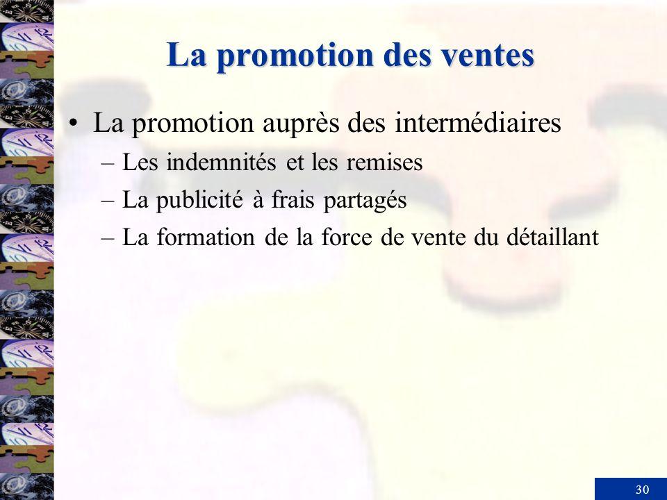 30 La promotion des ventes La promotion auprès des intermédiaires –Les indemnités et les remises –La publicité à frais partagés –La formation de la fo