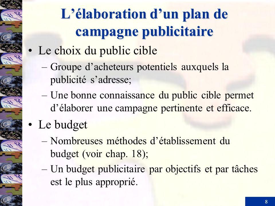 8 Lélaboration dun plan de campagne publicitaire Le choix du public cible –Groupe dacheteurs potentiels auxquels la publicité sadresse; –Une bonne con