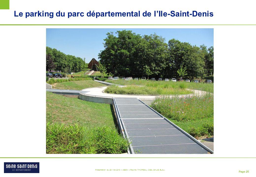 Page 26 Présentation du 28 Mai 2013 – AESN – Pauline THOREAU, DEA, SHUE, BLAU Le parking du parc départemental de lIle-Saint-Denis