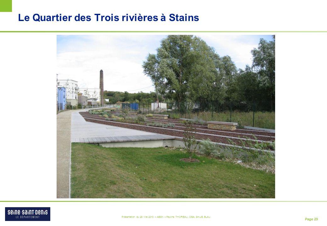 Page 29 Présentation du 28 Mai 2013 – AESN – Pauline THOREAU, DEA, SHUE, BLAU Le Quartier des Trois rivières à Stains