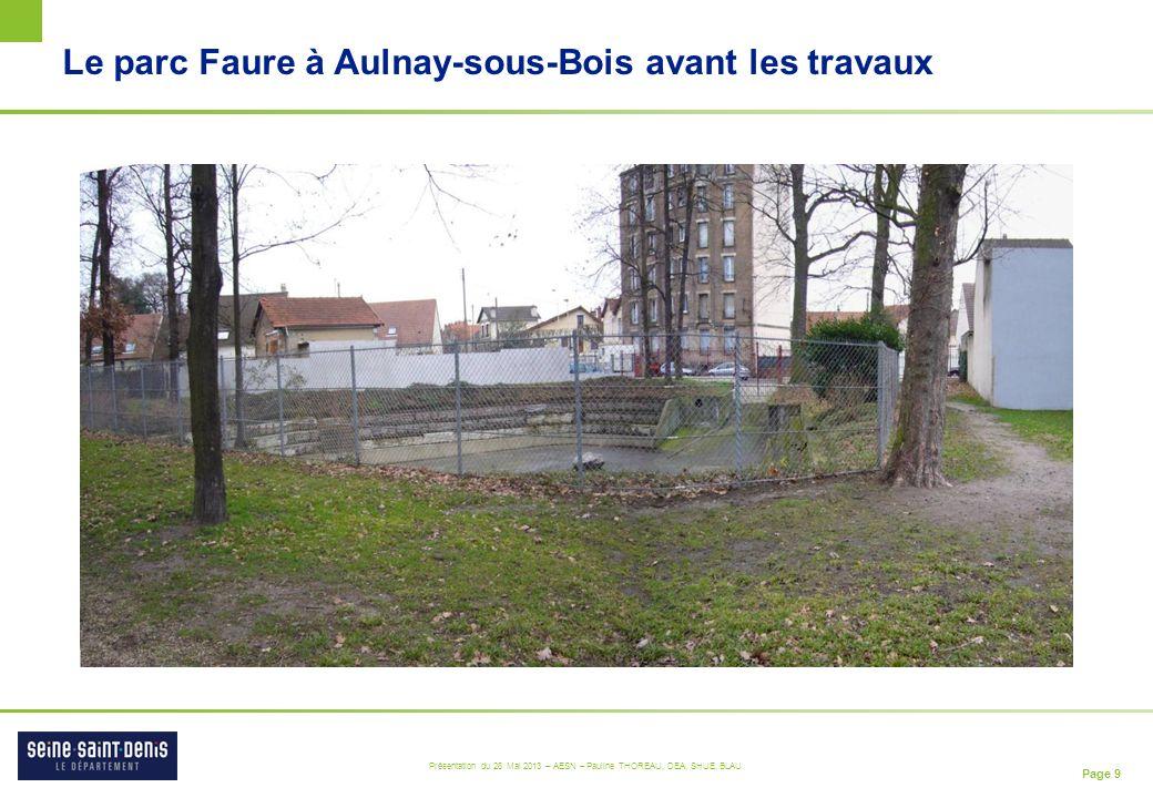 Page 9 Présentation du 28 Mai 2013 – AESN – Pauline THOREAU, DEA, SHUE, BLAU Le parc Faure à Aulnay-sous-Bois avant les travaux