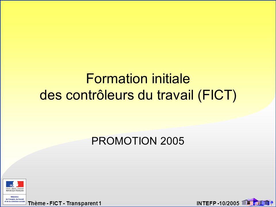 Thème - FICT - Transparent 1 INTEFP -10/2005 Formation initiale des contrôleurs du travail (FICT) PROMOTION 2005