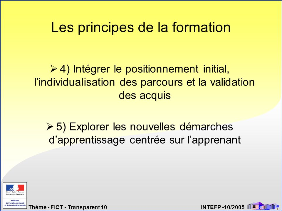 Thème - FICT - Transparent 10 INTEFP -10/2005 Les principes de la formation 4) Intégrer le positionnement initial, lindividualisation des parcours et