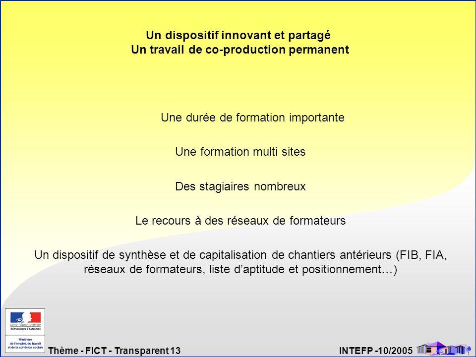 Thème - FICT - Transparent 13 INTEFP -10/2005 Un dispositif innovant et partagé Un travail de co-production permanent Une durée de formation important