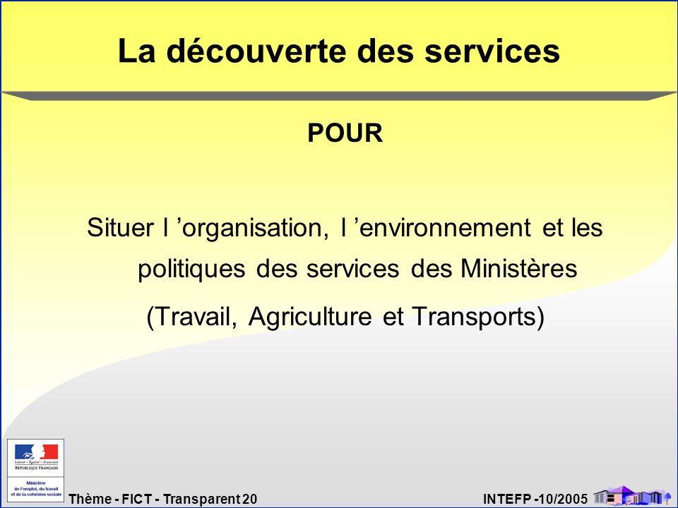 Thème - FICT - Transparent 20 INTEFP -10/2005 La découverte des services POUR Situer l organisation, l environnement et les politiques des services de