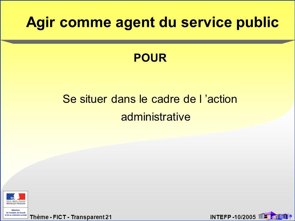 Thème - FICT - Transparent 21 INTEFP -10/2005 Agir comme agent du service public POUR Se situer dans le cadre de l action administrative
