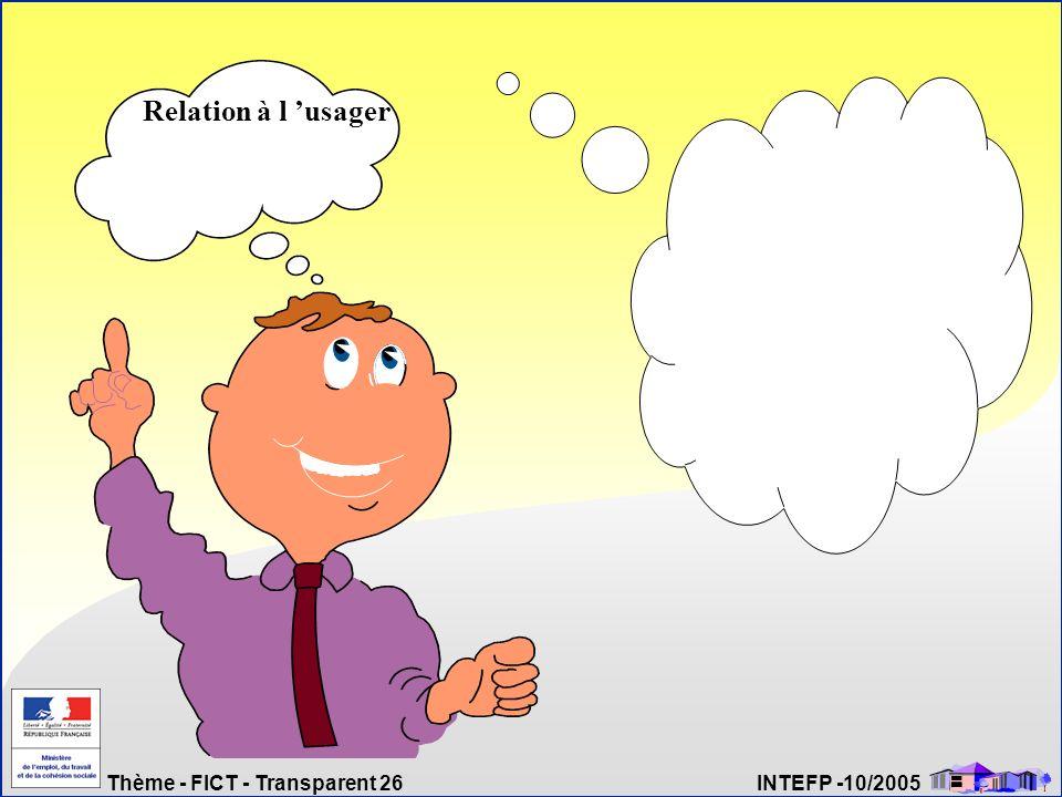 Thème - FICT - Transparent 26 INTEFP -10/2005 Relation à l usager