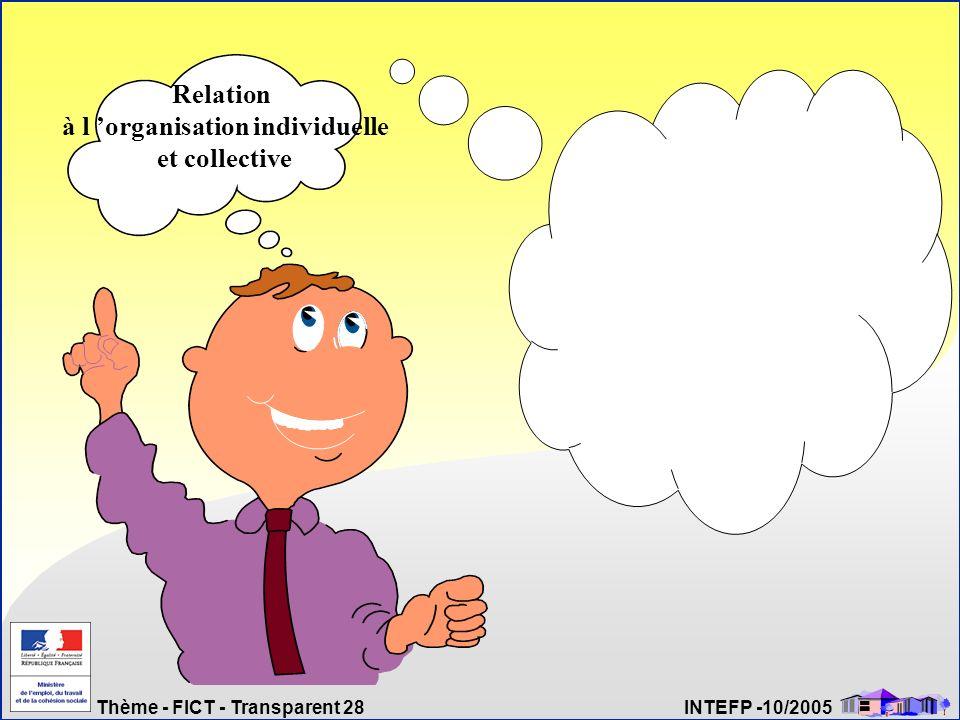Thème - FICT - Transparent 28 INTEFP -10/2005 Relation à l organisation individuelle et collective