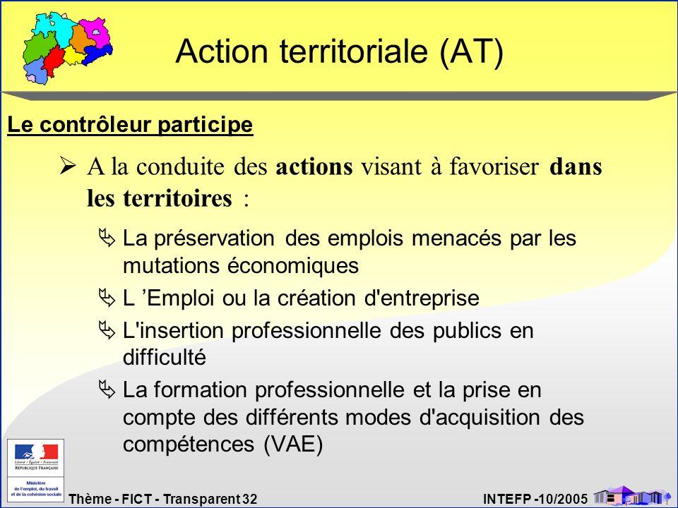 Thème - FICT - Transparent 32 INTEFP -10/2005 Action territoriale (AT) La préservation des emplois menacés par les mutations économiques L Emploi ou l