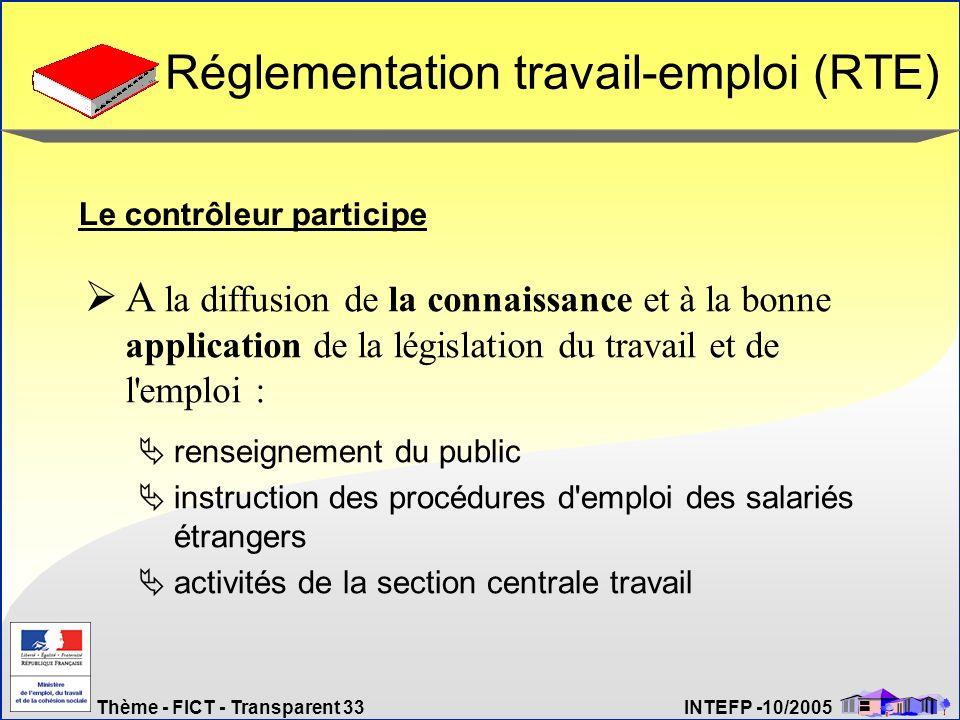 Thème - FICT - Transparent 33 INTEFP -10/2005 Réglementation travail-emploi (RTE) renseignement du public instruction des procédures d'emploi des sala