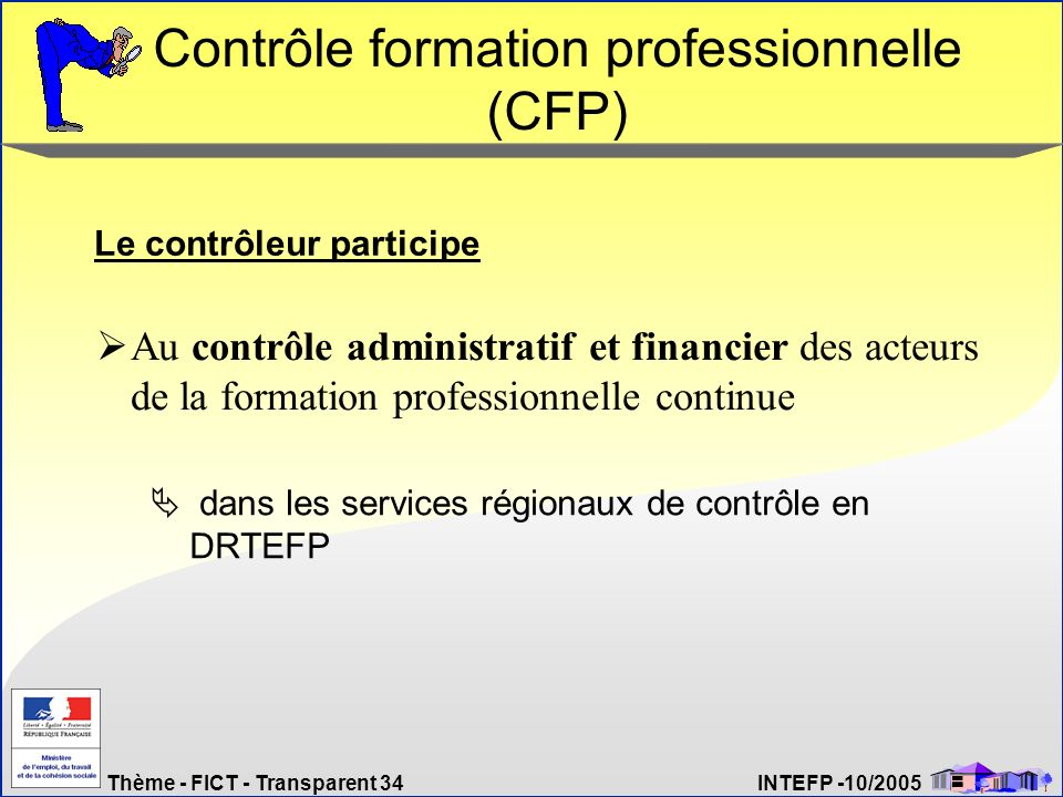 Thème - FICT - Transparent 34 INTEFP -10/2005 Contrôle formation professionnelle (CFP) dans les services régionaux de contrôle en DRTEFP Le contrôleur