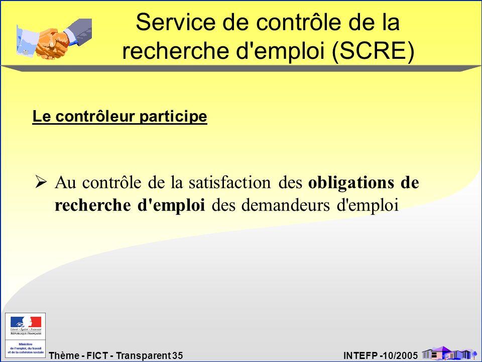 Thème - FICT - Transparent 35 INTEFP -10/2005 Service de contrôle de la recherche d'emploi (SCRE) Le contrôleur participe Au contrôle de la satisfacti