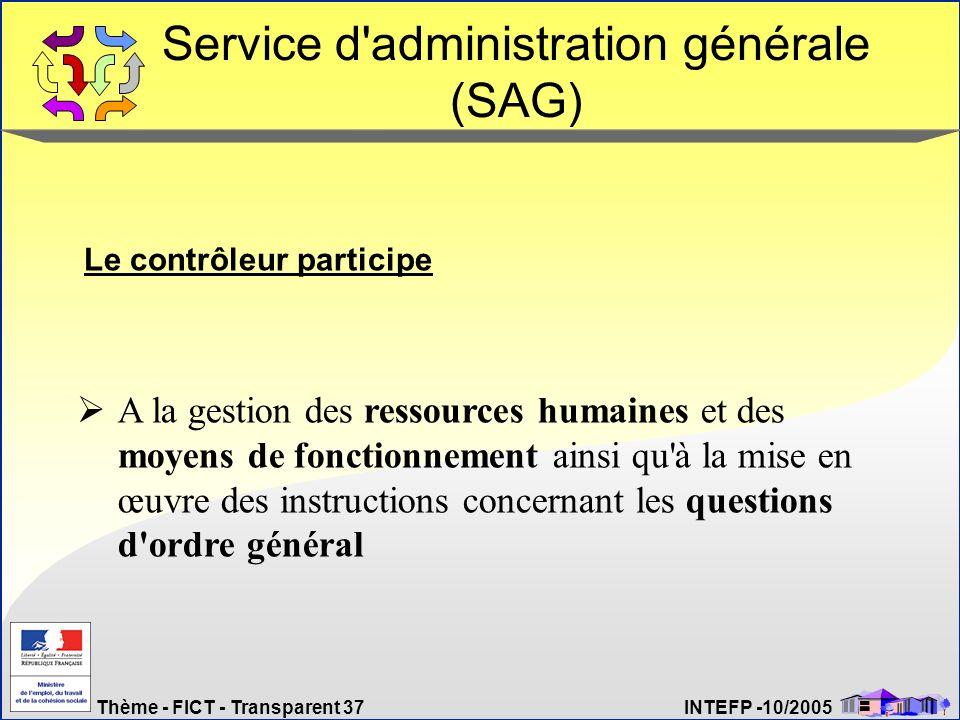 Thème - FICT - Transparent 37 INTEFP -10/2005 Service d'administration générale (SAG) Le contrôleur participe A la gestion des ressources humaines et