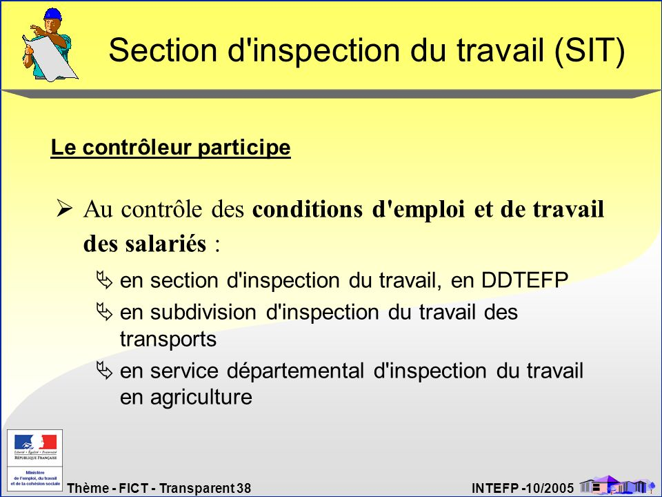 Thème - FICT - Transparent 38 INTEFP -10/2005 Section d'inspection du travail (SIT) en section d'inspection du travail, en DDTEFP en subdivision d'ins
