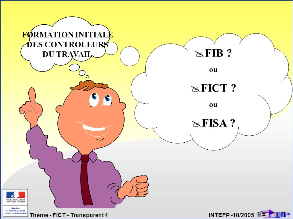 Thème - FICT - Transparent 4 INTEFP -10/2005 FIB ? ou FICT ? ou FISA ? FORMATION INITIALE DES CONTROLEURS DU TRAVAIL