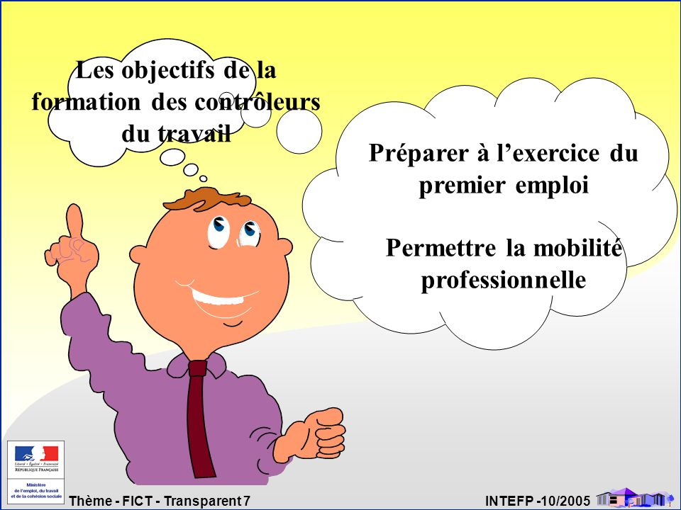 Thème - FICT - Transparent 7 INTEFP -10/2005 Préparer à lexercice du premier emploi Permettre la mobilité professionnelle Les objectifs de la formatio