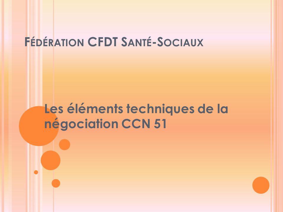 F ÉDÉRATION CFDT S ANTÉ -S OCIAUX Les éléments techniques de la négociation CCN 51