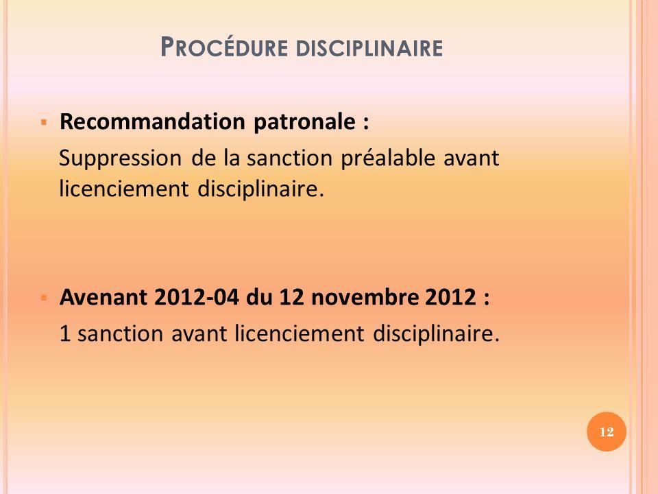 P ROCÉDURE DISCIPLINAIRE Recommandation patronale : Suppression de la sanction préalable avant licenciement disciplinaire.