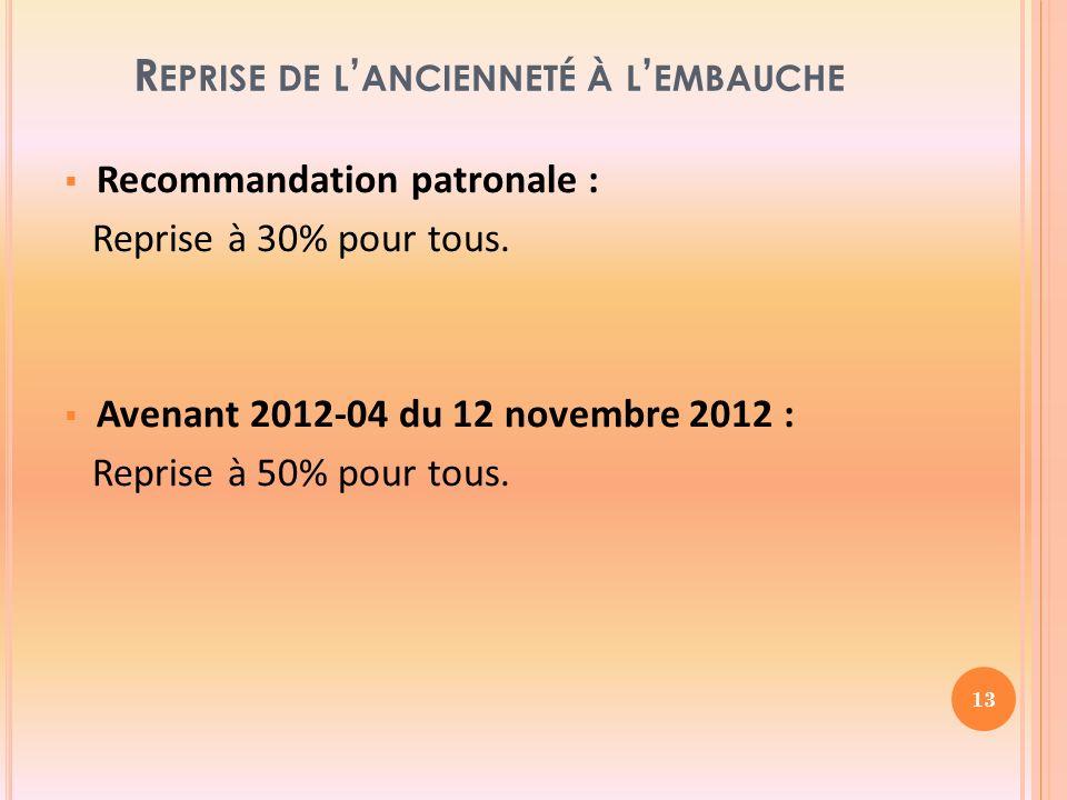R EPRISE DE L ANCIENNETÉ À L EMBAUCHE Recommandation patronale : Reprise à 30% pour tous.