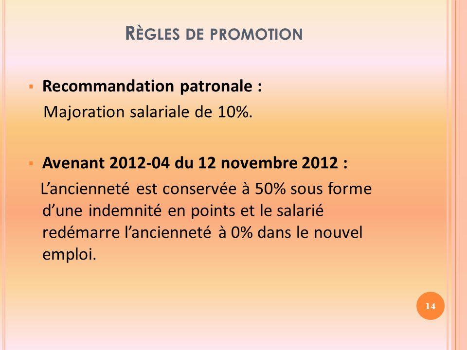 R ÈGLES DE PROMOTION Recommandation patronale : Majoration salariale de 10%.