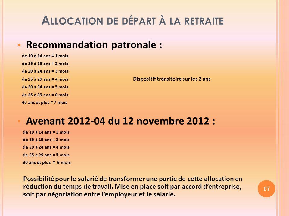 A LLOCATION DE DÉPART À LA RETRAITE Recommandation patronale : de 10 à 14 ans = 1 mois de 15 à 19 ans = 2 mois de 20 à 24 ans = 3 mois de 25 à 29 ans = 4 mois Dispositif transitoire sur les 2 ans de 30 à 34 ans = 5 mois de 35 à 39 ans = 6 mois 40 ans et plus = 7 mois Avenant 2012-04 du 12 novembre 2012 : de 10 à 14 ans = 1 mois de 15 à 19 ans = 2 mois de 20 à 24 ans = 4 mois de 25 à 29 ans = 5 mois 30 ans et plus = 6 mois Possibilité pour le salarié de transformer une partie de cette allocation en réduction du temps de travail.