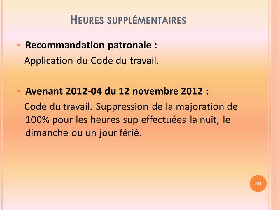 H EURES SUPPLÉMENTAIRES Recommandation patronale : Application du Code du travail.