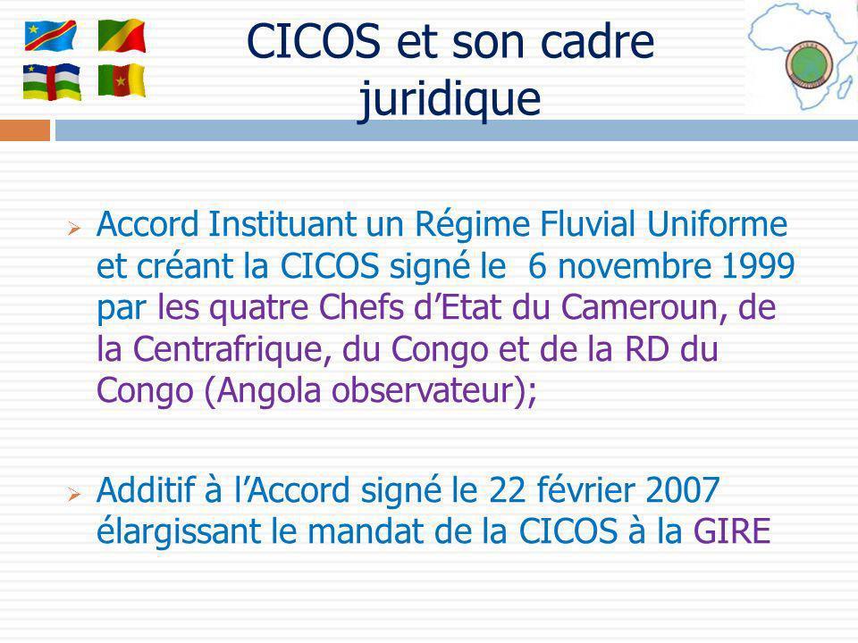 Accord Instituant un Régime Fluvial Uniforme et créant la CICOS signé le 6 novembre 1999 par les quatre Chefs dEtat du Cameroun, de la Centrafrique, d