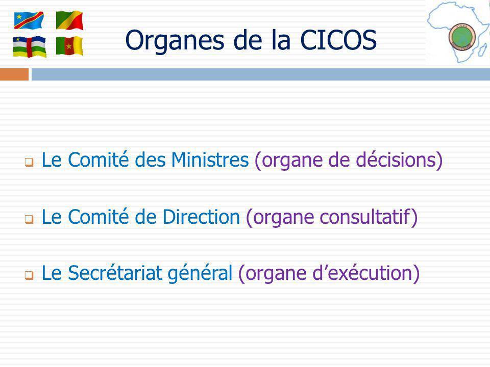 Le Comité des Ministres (organe de décisions) Le Comité de Direction (organe consultatif) Le Secrétariat général (organe dexécution) Organes de la CIC