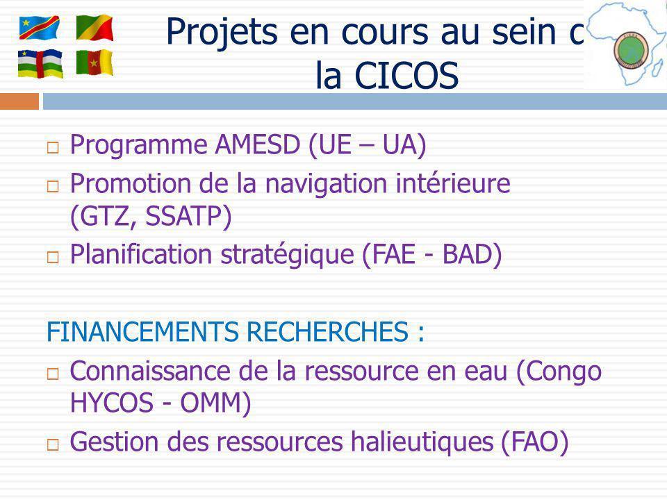 Programme AMESD (UE – UA) Promotion de la navigation intérieure (GTZ, SSATP) Planification stratégique (FAE - BAD) FINANCEMENTS RECHERCHES : Connaissa