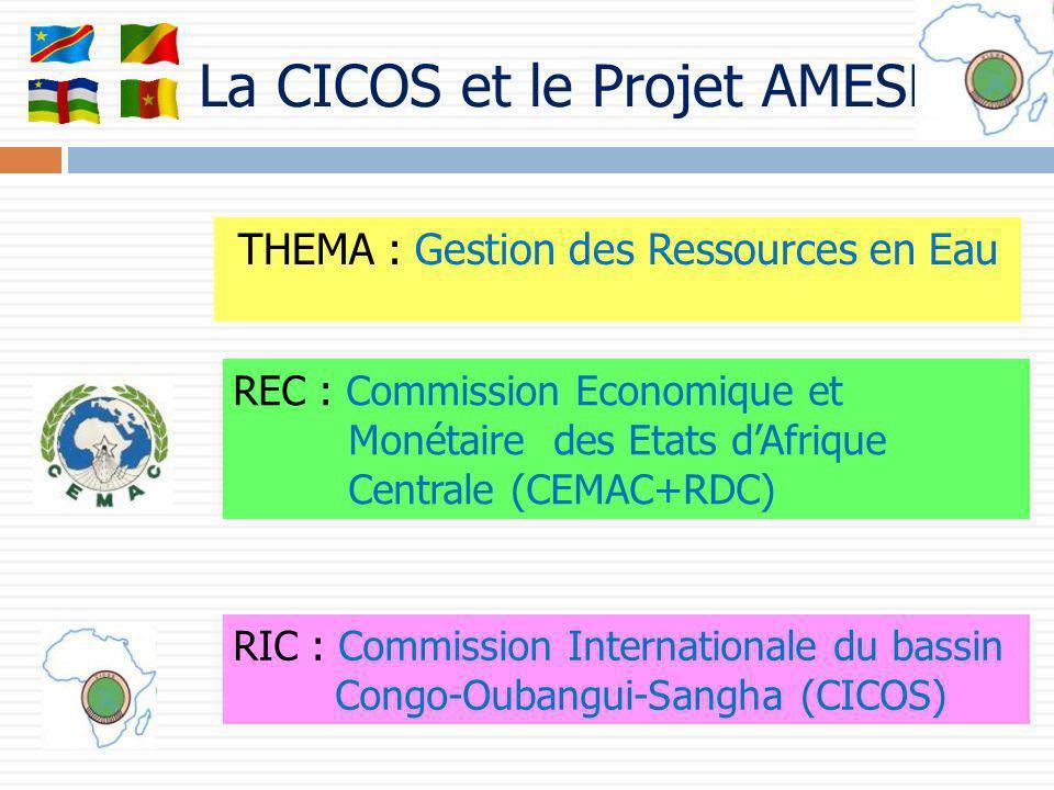 La CICOS et le Projet AMESD THEMA : Gestion des Ressources en Eau REC : Commission Economique et Monétaire des Etats dAfrique Centrale (CEMAC+RDC) RIC